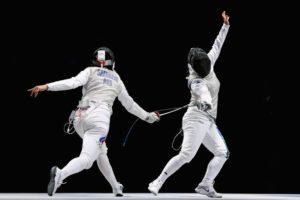 LONDON, ENGLAND - AUGUST 02: Aida Shanaeva of Russia and Ilaria Salvatori of Italy compete during the Women's Foil Team Fencing gold medal match on Day 6 of the London 2012 Olympic Games at ExCeL on August 2, 2012 in London, England. (Photo by Alex Livesey/Getty Images)