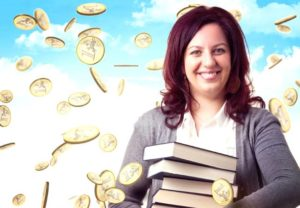 smiling woman with books and euro rain