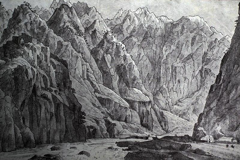 Н. Чернецов. Место Дарьял, взятое с дороги, ведущей из Тифлиса во Владикавказ в 1829 г.