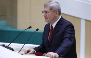 MOSCOW, RUSSIA - JANUARY 22, 2020: Russia's former prosecutor general Yuri Chaika speaks at the first plenary session of the 2020 spring session of Russia's Federation Council, Upper House of the Federal Assembly of the Russian Federation. Anton Novoderezhkin/TASS Ðîññèÿ. Ìîñêâà. Áûâøèé ãåíåðàëüíûé ïðîêóðîð ÐÔ Þðèé ×àéêà âî âðåìÿ âûñòóïëåíèÿ íà ïåðâîì â âåñåííåé ñåññèè ïëåíàðíîì çàñåäàíèè Ñîâåòà Ôåäåðàöèè ÐÔ. Àíòîí Íîâîäåðåæêèí/ÒÀÑÑ
